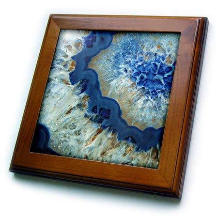 Mineral Art - 3dRose Art Print of Luxury Fashion Blue Marble Agate Gem Mineral Quartz Framed Tile, 6 x 6