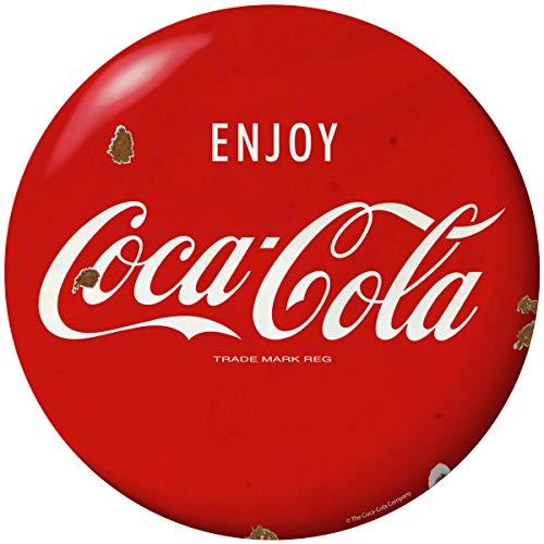 Retro Planet Enjoy Coca-Cola Red Disc 1960s Style Vinyl Sticker Distressed