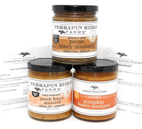 Terrapin Ridge Farms Honey Mustard Gourmet Sampler Pack Set of 3 Jars with Recipe Cards - Pecan Honey Mustard - Peach Honey Mustard - Pumpkin Honey Mustard