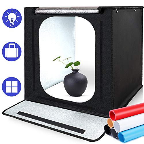 Photo Light Box, SAMTIAN Portable 16x16x16 Inches Photography Studio Light Box Shooting Tent Kit with 6 Background Papers and Brightness Dimmer for Photography, Product Advertising