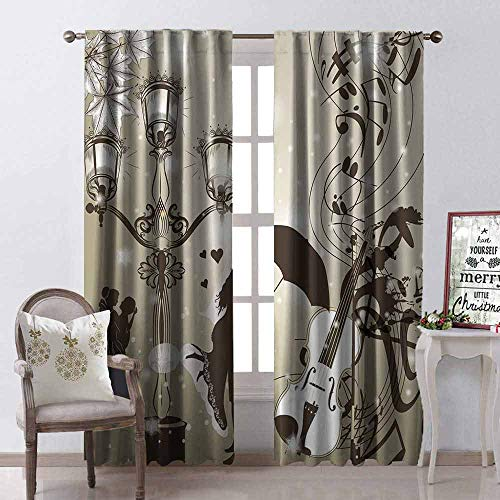 GloriaJohnson Romantic 99% Blackout Curtains Kissing Couples on Street with Lanterns Violin Music Love Valentines Theme for Bedroom Kindergarten Living Room W52 x L63 Inch Dust Dark Taupe