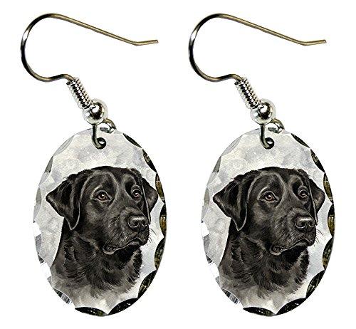 Canine Designs Labrador Retriever Scalloped Edge Oval Earrings