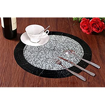 placemats set of 2 round glass beads charger placemat table mats tapestry 14 inch