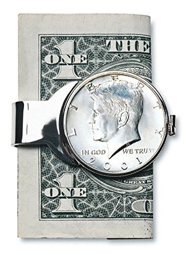 Half Dollar Money Clip - Coin Money Clip - JFK Half Dollar | Brass Moneyclip Layered in Silver-Tone Rhodium | Holds Currency, Credit Cards, Cash | Genuine U.S. Coin | Includes a Certificate of Authenticity