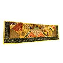"Mogul Table Runner Yellow Beaded Embroidered Wall Tapestry Home Décor Idea 60""x18""."