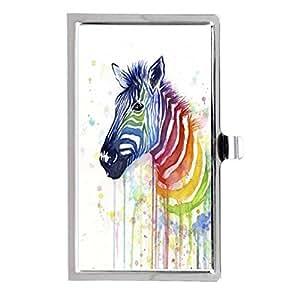 ABCone Custom Design, Rainbow Zebra Image Business Name Card Holder Case Metal Stainless Steel Pocket Fashion Case
