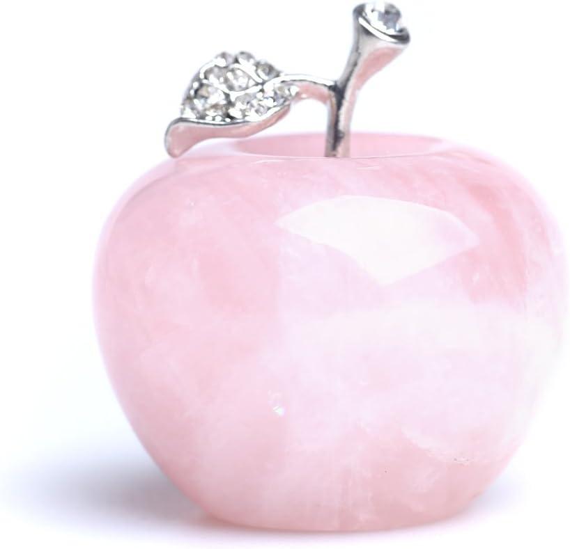 Yujianni 1.78 Inches Natural Quartz Apples Cut Rose Quartz Crystal Apple Figurine Statue Alloy Leaf Healing Stone for Home Decoration (Pink)