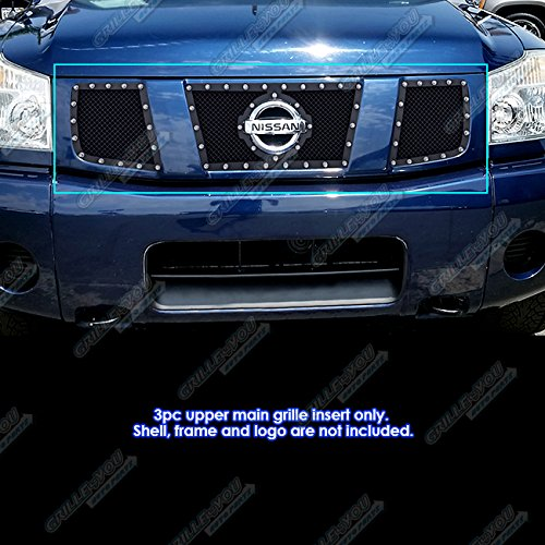 (Compatible with 2004-2007 Nissan Armada Titan Stainless Black Mesh Rivet Upper Grille Inert S18-H2145LN)