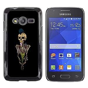 MobileHut / Samsung Galaxy Ace 4 G313 SM-G313F / Skeleton Punk Rock Skull Black Paint / Delgado Negro Plástico caso cubierta Shell Armor Funda Case Cover