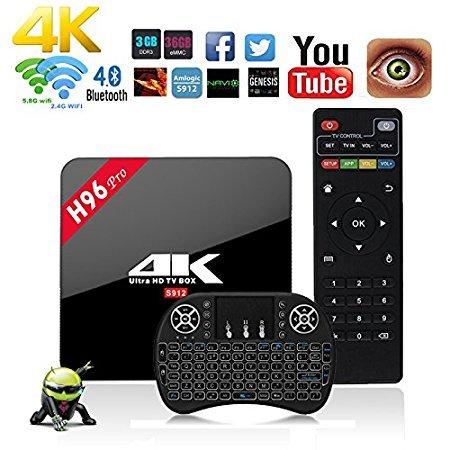 NBKMC 4K Android 6.0 3G + 16G TV Box H96 Pro Smart TV Box + Teclado ...