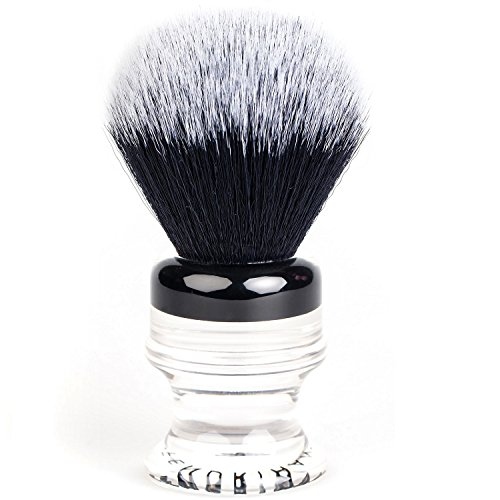 Fendrihan Black and White Synthetic Shaving Brush with Two-Tone Acrylic Handle for personal and professional shaving ()