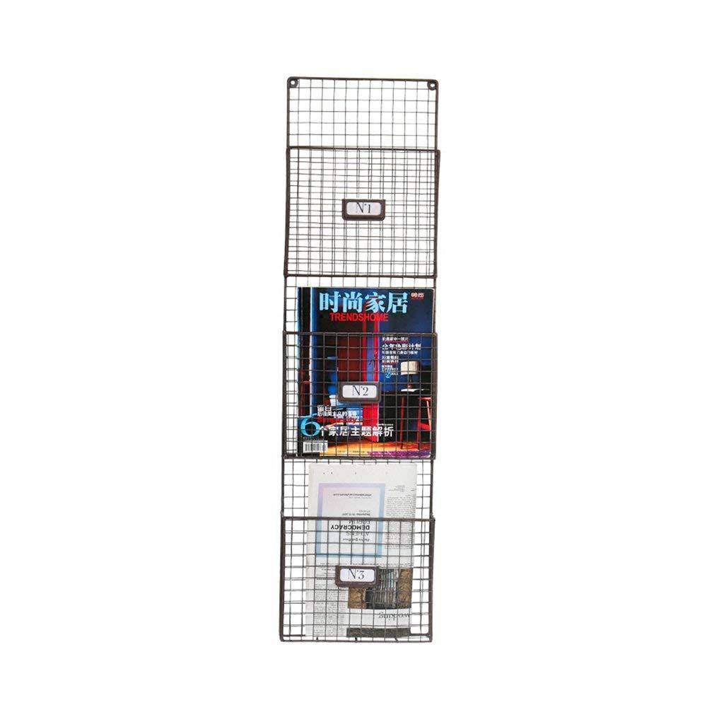 YCT 収納キャビネット、シンプルなグリッド錬鉄製の壁の装飾品、雑誌のラック、リビングルームの壁の新聞ラックを整理します。 B07R7GMHY9