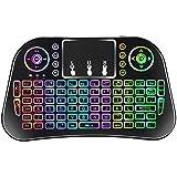 Wishpower 2.4GHz Mini Wireless Keyboard/Remote Keyboard,Touchpad Mouse Combo and Multimedia Keys,Rechargeable Li-ion Battery. (Mini Wireless Keyboard(Multicolor Backlight))