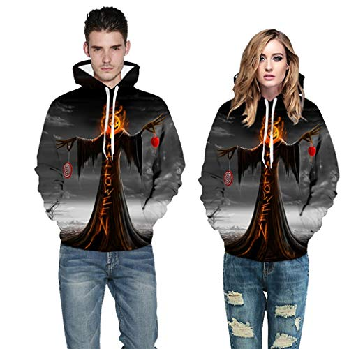 Couple's Scary Halloween Tops 3D Printed Party Long Sleeve Hoodie Sweatshirt Gray