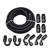 Evilenergy 16Ft 6 AN Nylon and Stainless Steel Braidied Oil Gas Feul Line + 10pcs AN 6 Hose Fitting Kit Black