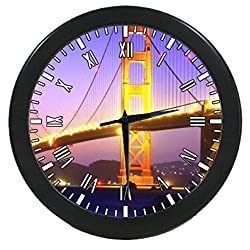 UlanLi San Francisco Golden Gate Bridge Round Quartz Wall Clock Black Quality Battery Operated 9.65 inch