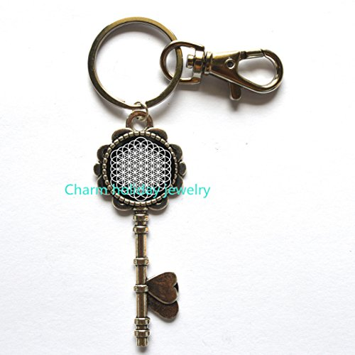 Flower of Life Keychain, Geometry Keychain, Yoga Keychain, spiritual mandala keychain,Flower of Life gift]()