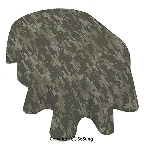 (Camouflage Oval Polyester Tablecloth,Monochrome Military Attire Pattern Concealing Hiding in the Woods Forest Army Decorative,Dining Room Kitchen Rectangular Table Cover, 60 x 120 inches,Taupe Tan)