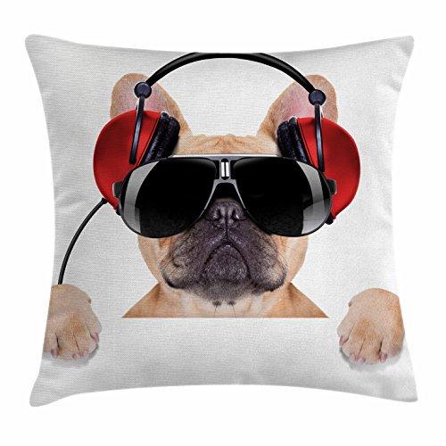 Ambesonne Popstar Party Throw Pillow Cushion Cover, Dj Bulldog with Headphones Listening to Music behind White Banner, Decorative Square Accent Pillow Case, 16 X 16 Inches, Light Brown Black (Party Art Throw Pillow)