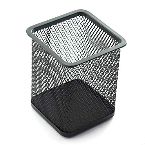 Square Metal Pen - Partstock 1pc Black Pen Holder Desktop Organizer Student Stationery Office Supplies Square Shape Hollow Out Metal Mesh Pencil Container