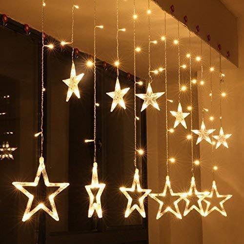 DREAMZONE 10 Stars 138 LED Curtain String Lights (Warm White)