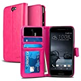HTC One A9 Case, NuNu Modish HTC A9 Wallet Case [Premium] PINK Stylish Flip Folio Wallet Case with Stand for HTC One A9