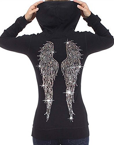Interstate Apparel Inc Juniors Huge Angel Wings Rhinestone Thermal Zipper Hoodie Black S-XL