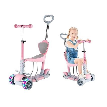 Baobë 5 en 1 niños Kick Scooter, Scooter Ajustable para niños pequeños de 1 a 6 años de Edad. Niños y niñas apoyan 50 kg. (Rosado)
