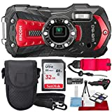 Ricoh WG-60 Waterproof Digital Camera, Red with 32GB, Floating Strap,...