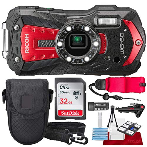 (Ricoh WG-60 Waterproof Digital Camera, Red with 32GB, Floating Strap, Tripod Accessory Bundle)