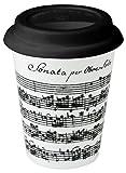 Konitz 9-Ounce Vivaldi Libretto White Travel Mugs and Silicon Lid, White/Black, Set of 4