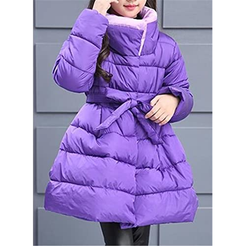 XQS Girls' Winter Padded Thick Flare Puffer Belt Jacket Dress Coat