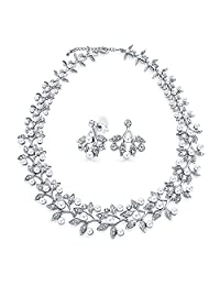 Bridal Fashion Simulated Pearl Cubic Zirconia AAA CZ Leaf Statement Necklace Jewelry Set for Women for Bride for Wedding