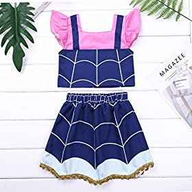 - 51h7G0tVq4L - Alvivi Kids Girls Vampire Costume Dress Ruffled Sleeves Crop Top with Skirt Outfit for Halloween Theme Party