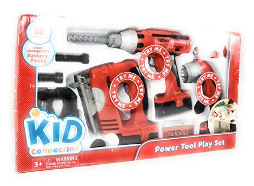 Power Tool Play Set of 12 Pieces: Electric Drill, Jig Saw, Flashlight, Drill Bit Case, Flathead Bit, Phillips Bit, 2 Screws, 2 Nuts, Tape Measure, Measurement Card by Kid Connection by Kid Connection