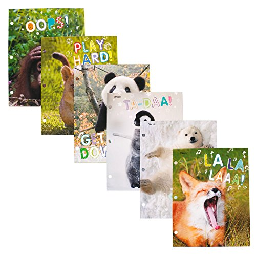 Mead 2-Pocket Folder, Paper, Baby Zoosters, Assorted Designs, 6 Pack (38186) by Mead