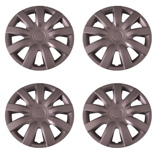 Set of 4 Silver 15 Inch Aftermarket Replacement Hubcaps with Metal Clip Retention System - Part Number: IWC423/15S