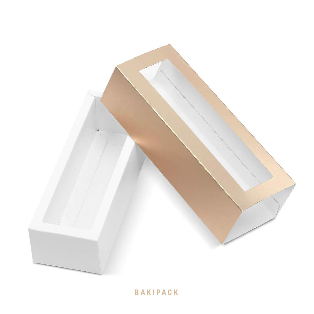 BAKIPACK Macaron Boxes for 6 Macarons (Pack of 25) Gold Macaron Boxes with Interior Meament 7.25'' x 1.8'' x 1.75'' Macarons Box with Clear Window (without Macaron inside) by BAKIPACK (Image #5)