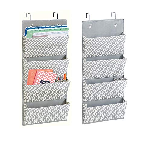 mDesign Soft Fabric Over The Door Hanging Chevron Storage Organizer with 4 Large Pockets for Home Office - Hooks Included - Zig Zag Geometric Pattern - 2 Pack - Gray/Cream