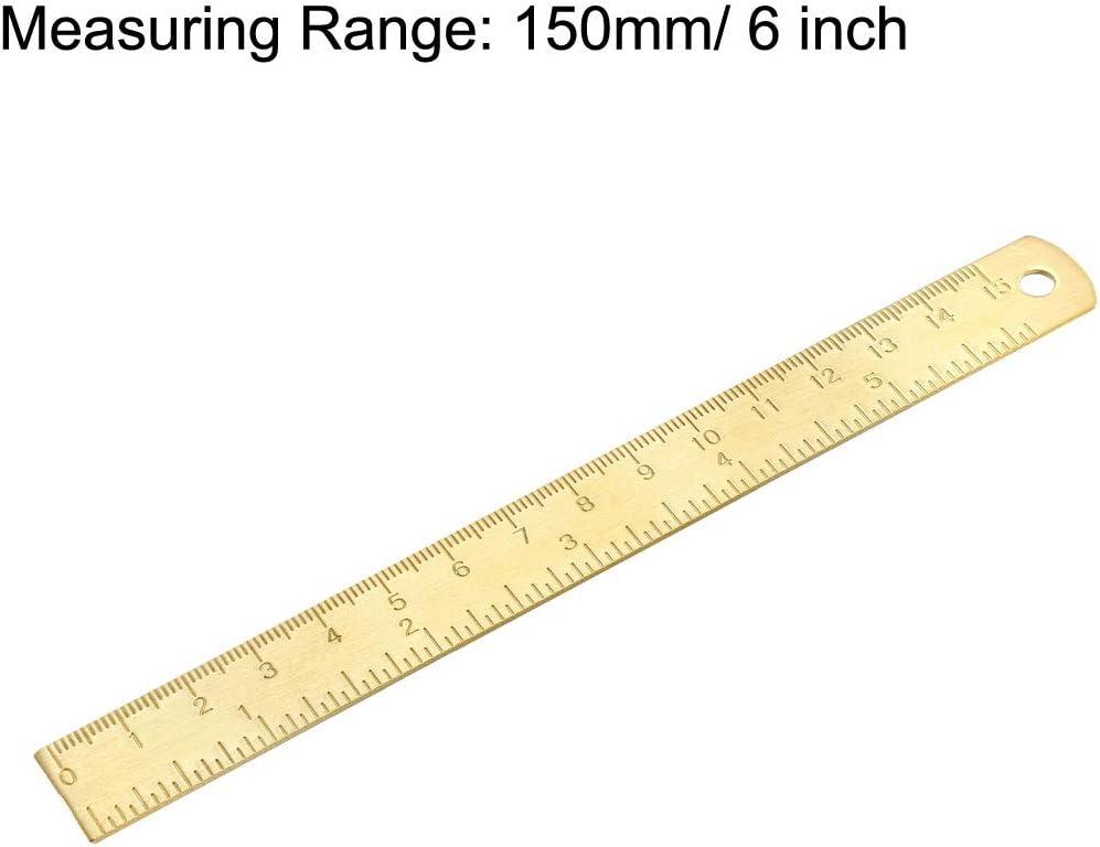 Sourcing Map Gerades Lineal 150 mm Messing-Werkzeug mit Loch zum Aufh/ängen