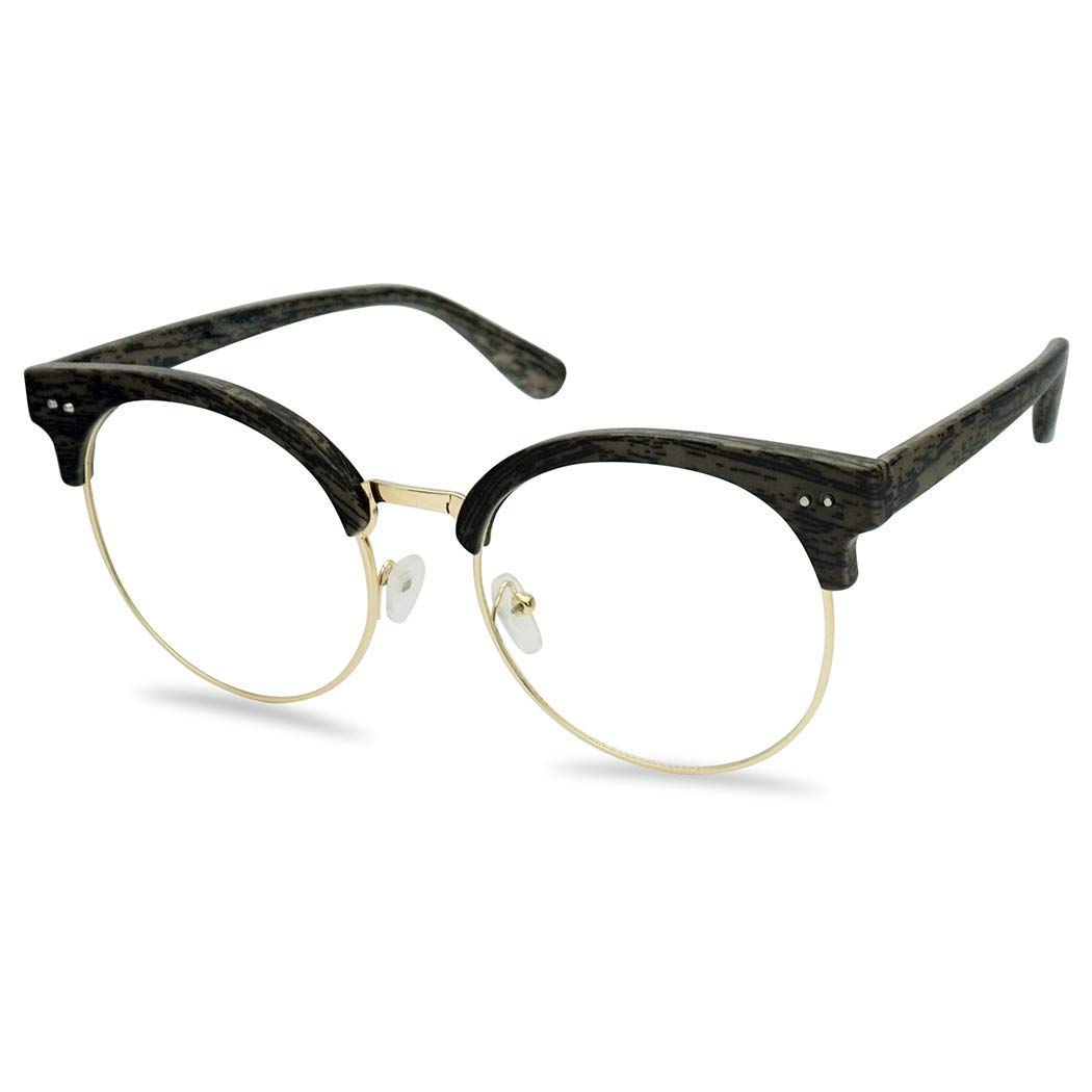 Round Wood Print Oversized Half Frame Gold Metal Clear Flat Lens Eye Glasses (Grey, 60) by SunglassUP