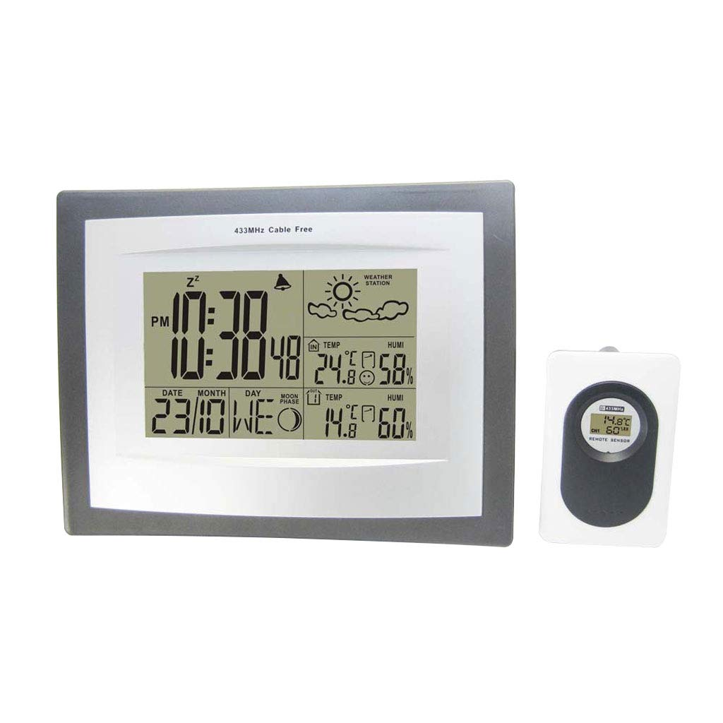 YTS Home Indoor and Outdoor Temperature and Humidity Meter Clock Digital Display Wireless Weather Station