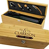 Personalized Wood Wine Box - Anniversary Ceremony Couples Wedding Wine Gift Box Holder - Custom Engraved for Free (Bamboo)