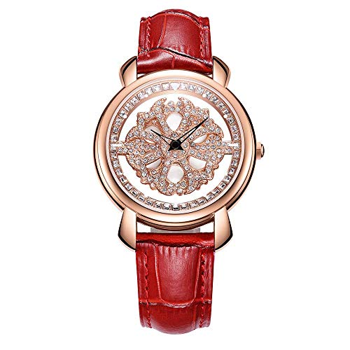 NAKZEN Women Analogue Quartz Watch Fashion Unique Design Hollow Flower Diamond Waterproof Watch with Rotating Diamond Dial and Mesh Band Leather Strap (Red ()