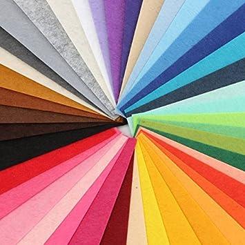 44 Hojas de Fieltro No Tejido Tela Fieltro Grueso de Acrílico para Manualidades Patchwork Costura DIY Craft Trabajo 20*20cm Espesor 1mm Colores Mixtos