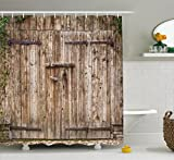 old oak - Rustic Shower Curtain by Ambesonne, Old Oak Closed Garage Door with Steel Hinges Vintage Typical Cottage Doorway Image, Fabric Bathroom Decor Set with Hooks, 75 Inches Long, Tortilla