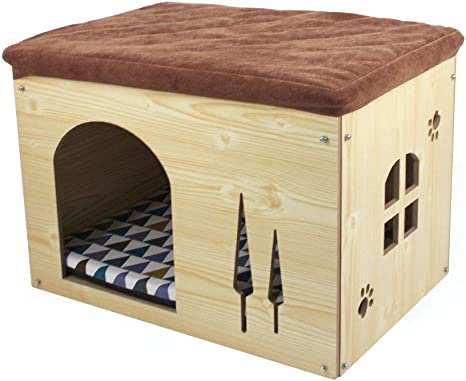 Songway Cat Condos For Cats Cat Shelter Cat House For Indoor Cats Dog House Dog Kennel For Small Dogs Footstool And Ottoman Small Natural Wood Kitchen Dining