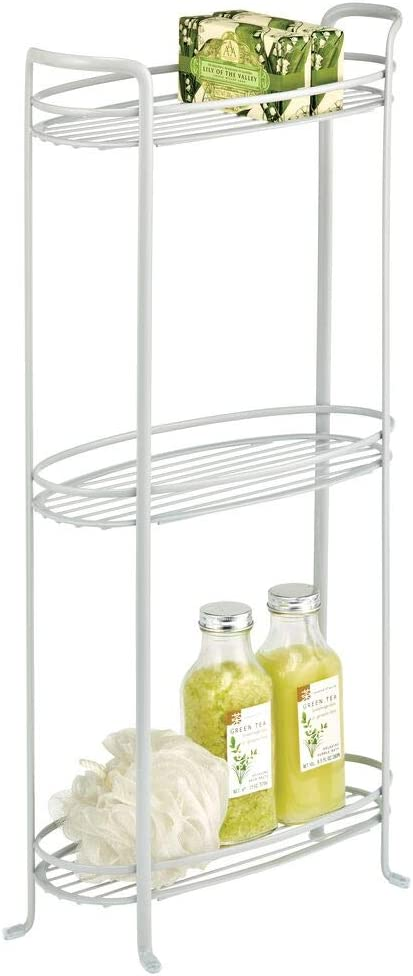 mDesign 3 Tier Vertical Standing Bathroom Shelving Unit, Decorative Metal Storage Organizer Tower Rack with 3 Basket Bins to Hold and Organize Bath Towels, Hand Soap, Toiletries - Light Gray