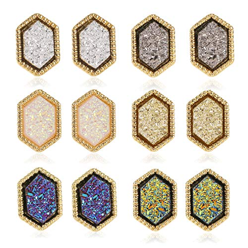 6 Pairs Women Crystal Stud Earrings Hypoallergenic Geometry Shiny Druzy Earring Fashion Jewelry for girls (Hexagonal Star Stud Earrings)