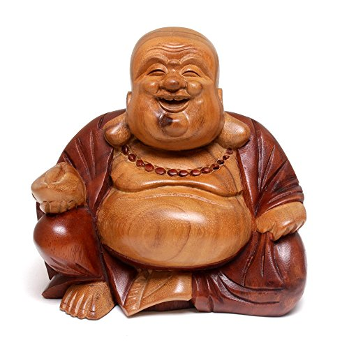 NOVICA Hand Carved Natural Acacia Wood Buddha Sculpture, 8